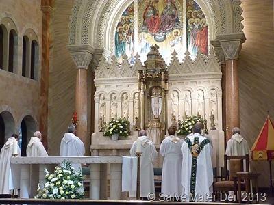 "Carmelite Community Singing ""Salve Regina"" at the Basilca of the National Shrine of Mary Help of Christians at Holy Hill © SalveMaterDei.com, 2013 EA photo"